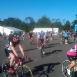 Riders gathering at the start